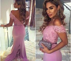 Charming Prom Dress,Off The Shoulder Prom Dress,Mermaid Prom Dress,Appliques Prom Dress,Backless Prom Dress