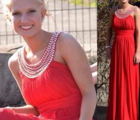 Charming Prom Dress,Chiffon Prom Dress,O-Neck Prom Dress,Beading Prom Dress,Pleat Prom Dress,A-Line Prom Dress