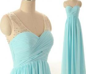 Charming Prom Dress,Chiffon Prom Dress,A-Line Prom Dress,V-Neck Prom Dress,Beading Prom Dress