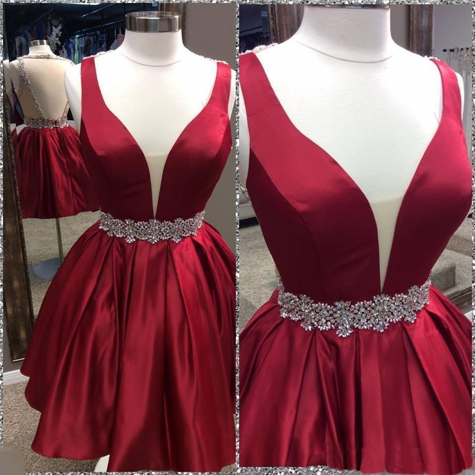High Quality Bead Homecoming Dress,Red Short Homecoming Dress,Plus Size Homecoming Dress With Sleeves,Sexy Open Back Homecoming Dress