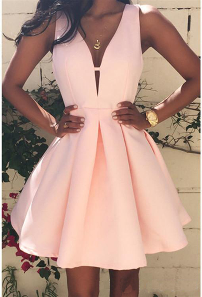 V Neck Homecoming Dress,Cute Homecoming Dress,2018 Short Homecoming Dress with Sleeves,Satin Homecoming Dress