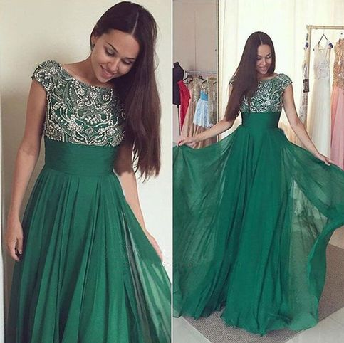 Fantastic Dark Green Prom Dress,Cap Sleeve Prom Dress,Crystal ...