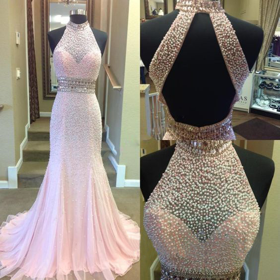 Gorgeous Pink Pearls Beaded Long Prom Dress ,Halter Prom Dress ,Open Back Prom Dress ,Mermaid Prom Dress ,Evening Dress,Formal Dress ,Plus Size Prom Dress ,Evening Dress for Women ,Celebrity Dress ,Pageant Dress,Long Homecoming Dress,Long Party Dress