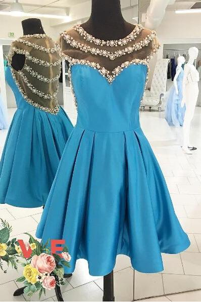 Charming Prom Dress,Sexy Prom Dresses,Beaded Prom Gown,See Though Prom Dress,Short Party Dress