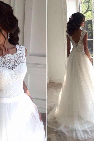 Illusion Neckline Wedding Dress,Delicate Lace V-back Wedding Gown, Bridal Dress, Formal Wedding Dress,Custom Made Wedding Dress,Wedding Gonws 2017,Tulle and Lace Wedding Dress