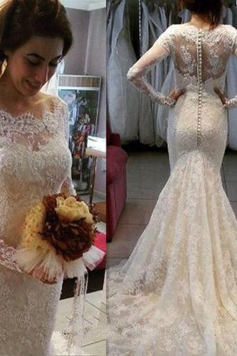 Wedding Dress,Custom Wedding Dress,Romantic wedding dress,Mermaid Wedding Dress,Lace wedding dress,Vintage Long Sleeves Buttons Lace Wedding Dress with Train Mermaid Wedding Dress Long Wedding Dress
