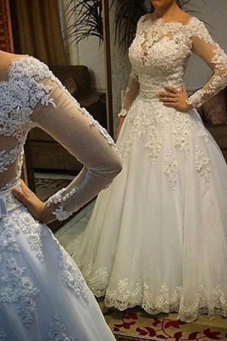 Long Sleeve Wedding Dress vestidos de noiva Ball Gown Bridal Gown Luxurious Wedding Dress for Brides