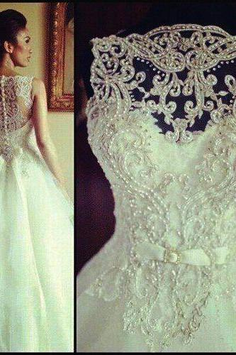 White Lace Wedding Dresses,Lace Wedding Dress Sheer Back, Lace Wedding Dress, Wedding Dress 2017, Wedding Dress
