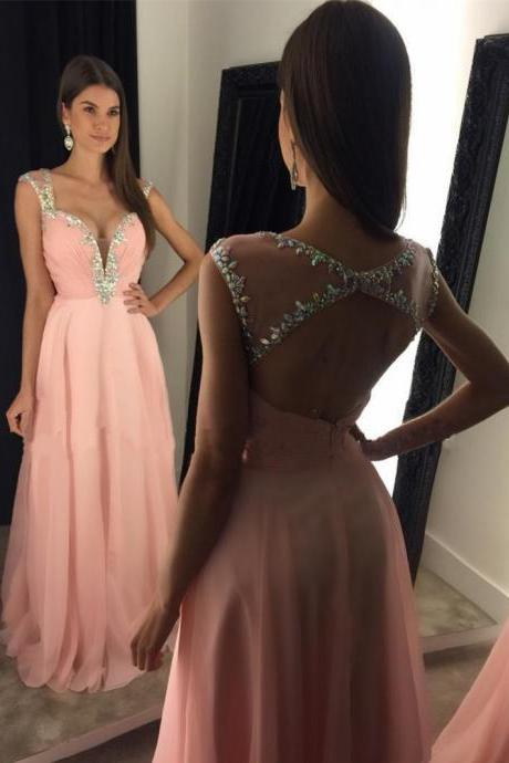 Pink A-Line Chiffon Long Prom Dress Beautiful Crystal Sleeveless Backless Prom Dress Formal Evening Gowns 2017
