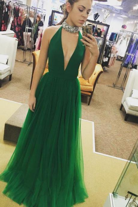 Sexy Deep V-neck Tulle Long Prom Dress,Simple A-line Sleeveless Prom Dress Formal Evening Gowns 2017