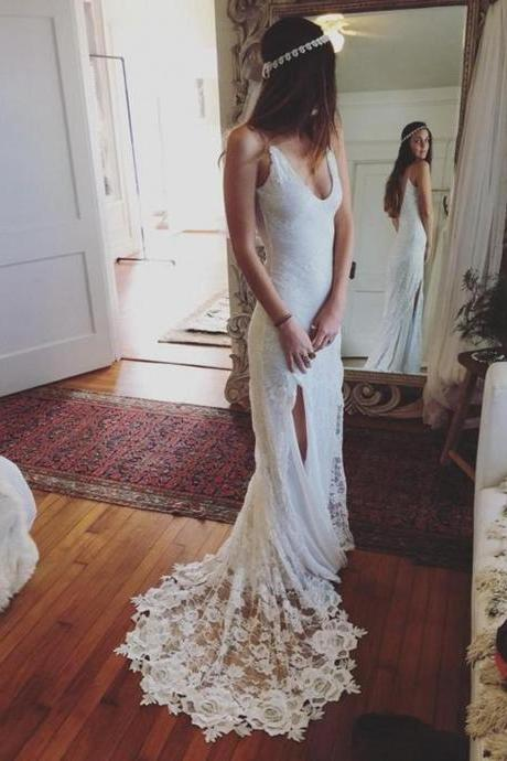 Lace Plunge V Spaghetti Straps Floor Length Trumpet Wedding Dress Featuring Slit and Sweep Train