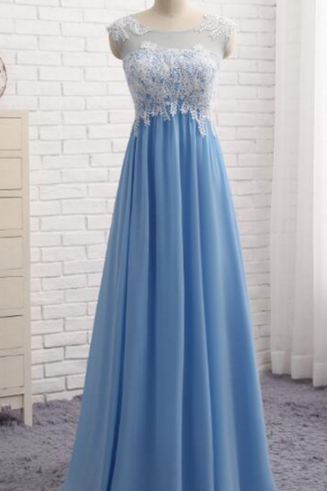 pale blue, sleeveless evening dress