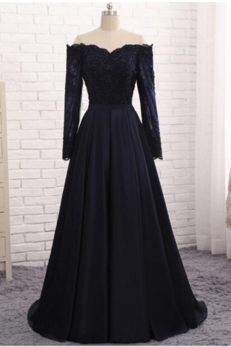 Long sleeve navy evening gown with satin dinner