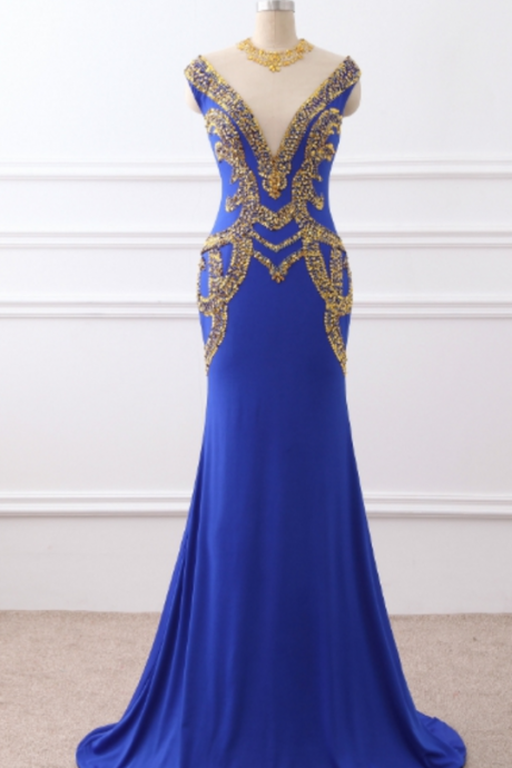 The night of the mermaid, the royal blue jersey, with the golden beaded hallway, the evening gown