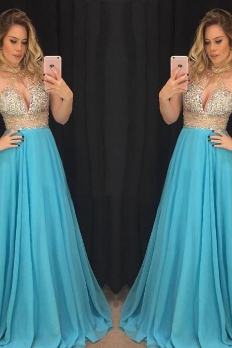 Sexy Blue A Line Beading Chiffon Prom Dress, Sleeveless Evening Dresses, Long Prom Dress