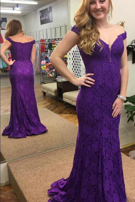 Charming Purple Lace Mermaid Prom Dress, Sexy Long Prom Dresses, Formal Evening Gowns