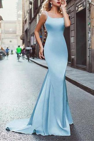 Amazing satin neckline Mermaid tuxedo prom dress