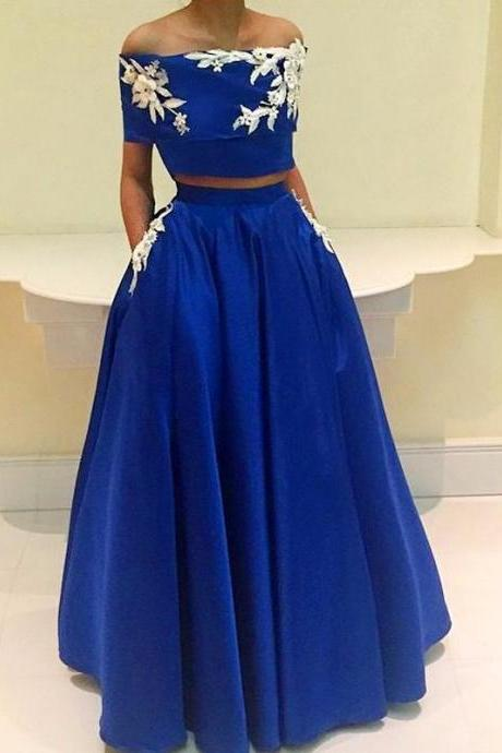 Royal-Blue A-Line Two-Pieces Appliques Off-the-Shoulder Prom Dress