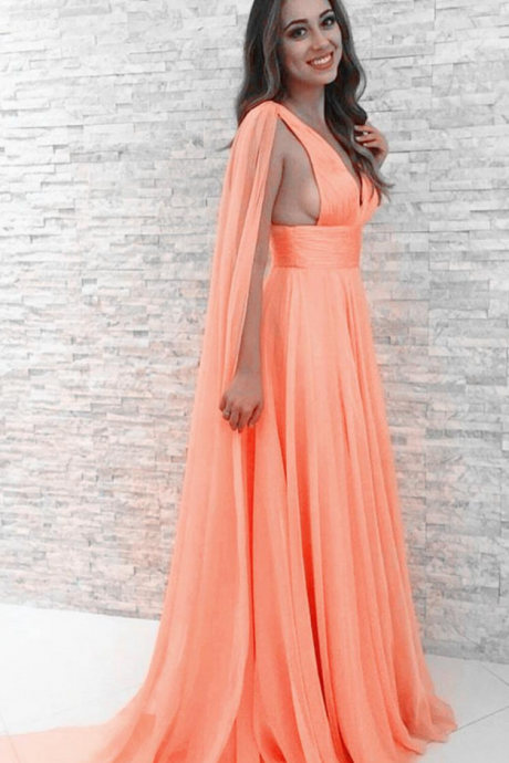 Peach Chiffon Prom Dresses,Sexy Prom Dress, A-line V Neck Peach Evening Dresses Formal Dress, Chiffon Long Party Dress