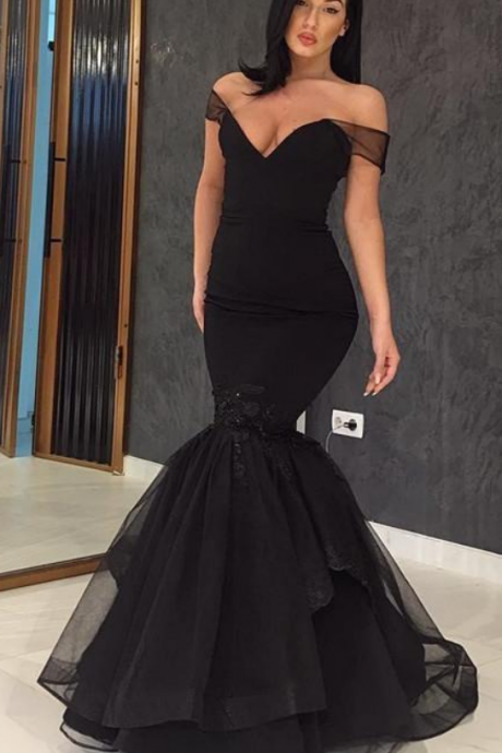 Prom Dresses, Black Prom Dress, Evening Wear Off The Shoulder Mermaid Prom Gowns Floor Length Lace Appliques New Formal Dresses