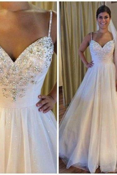 Spaghetti Straps Wedding Dress,Sleeveless Wedding Dresses, Sexy A Line Bridal Dresses