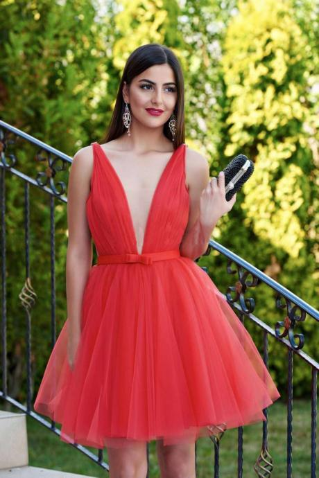 Top Selling Homecoming Dress,Sexy V Neck Homecoming Dress,Plus Size Homecoming Dress With Sleeves,Open Back Homecoming,Red Homecoming Dress