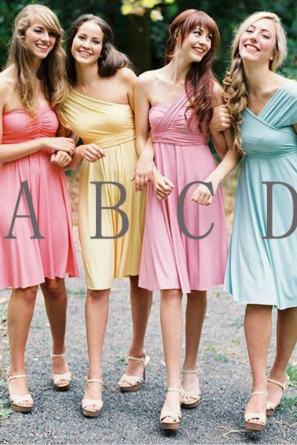 Bridesmaid Dress, Short Bridesmaid Dress, Chiffon Bridesmaid Dress, Bridesmaid Dress, Custom Bridesmaid Dress, Knee-Length Bridesmaid Dress, Cheap Bridesmaid Dress