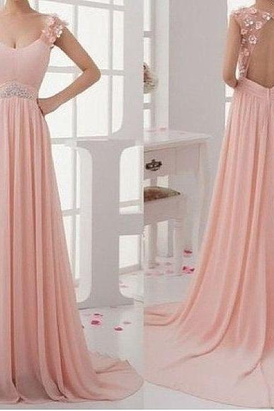 Pink Prom Dress, Backless Prom Dress, Elegant Prom Dress, Prom Dress, Sleeveless Prom Dress, Off Shoulder Prom Dress, Handmade Prom Dress, Occasion Dress