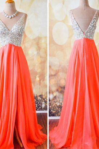 Coral Prom Dress, Off Shoulder Prom Dress, Modest Prom Dress, V-Neck Prom Dress, Prom Dress, Gorgeous Prom Dress, Evening Dress, Formal Prom Dress, Party Dress