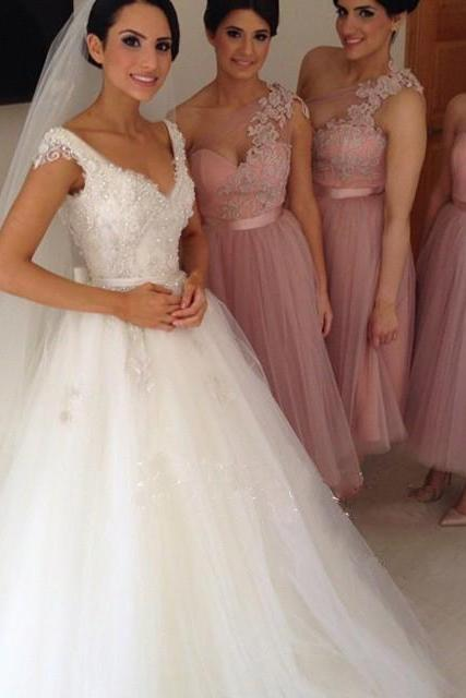 One Shoulder Bridesmaid Dress, Short Bridesmaid Dress, Bridesmaid Dress, Lace Bridesmaid Dress, Tulle Bridesmaid Dress