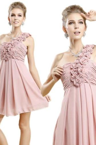 Bridesmaid Dress, Short Bridesmaid Dress, One Shoulder Bridesmaid Dress, Chiffon Bridesmaid Dress, Blush Pink Bridesmaid Dress