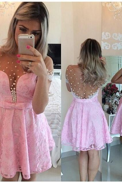 Short Sleeve Prom Dress, Pink Prom Dress, Lovely Prom Dress, Evening Dress, Handmade Prom Dress, Keen-Length Prom Dress