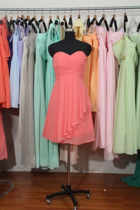 Coral Chiffon Ruched Sweetheart Short Ruffled A-Line Bridesmaid Dress