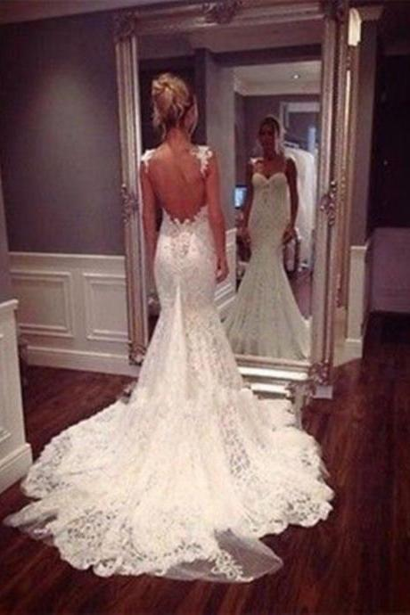 New Sexy Backless Full Lace Mermaid Spaghetti Straps Wedding Dress Bridal Gown