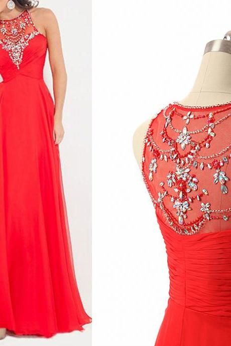 Red Prom Dress,Long Prom Dress,Beaded Prom Dress,Sequin Prom Dress,Women Party Dress