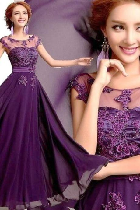Elegant Purple Prom Dress,Lace Prom Dress,Cap Sleeve Prom Dress,Chiffon Prom Dress,Long Prom Dress,Bridesmaid Dress