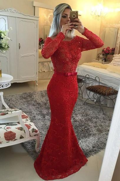 Charming Prom Dress, O-Neck Prom Dress,Mermaid Prom Dress,Lace Prom Dress,Long-Sleeves Evening Dress