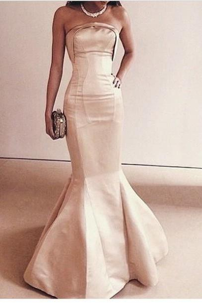 Charming Prom Dress, Strapless Prom Dress,Mermaid Prom Dress,Satin Prom Dress,Noble Evening Dress