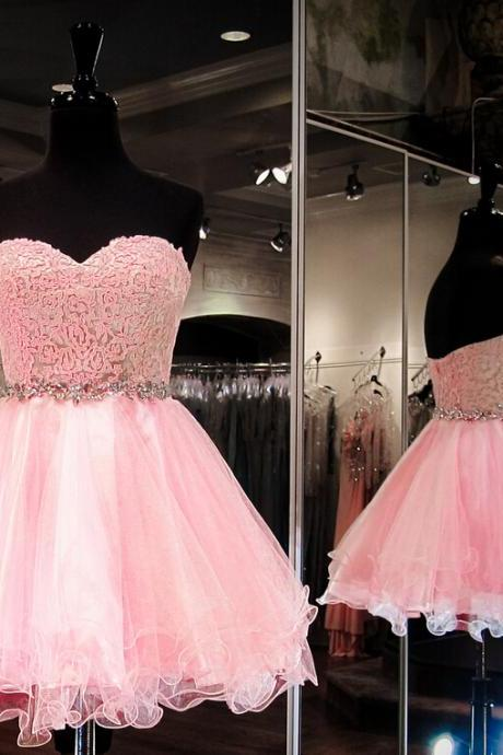 Charming Homecoming Dress,Organza Homecoming Dress,Lace Homecoming Dress,Sweetheart Homecoming Dress