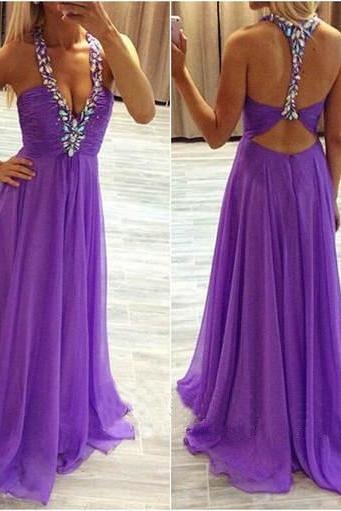 Charming Prom Dress,Chiffon Prom Dress,A-Line Prom Dress,V-Neck Prom Dress,Beading Prom Dress,Backless Prom Dress