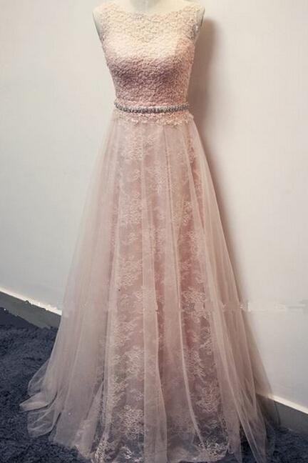 Charming Appliques And Lace Prom Dresses, Floor-Length Evening Dresses, Prom Dresses, A-Line Real Made Prom Dresses