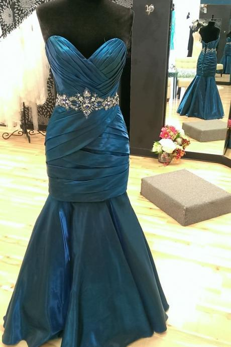 Elegant Mermaid Prom Dress,Pleated-bodice Prom Dress with Waistband,Simple Prom Dress ,Long Evening Dress ,Evening Gown,Long Formal Dress ,Pageant Dress ,Party Dress