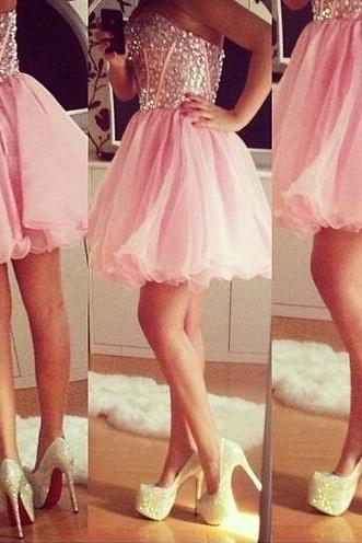 Sparkly Crystal Beaded Bodice Pink Skirt Homecoming Dresses Strapless Short Prom Dresses