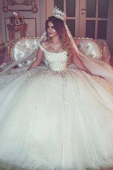 Off-the-Shoulder Beaded Princess Ball Gown, Wedding Dress