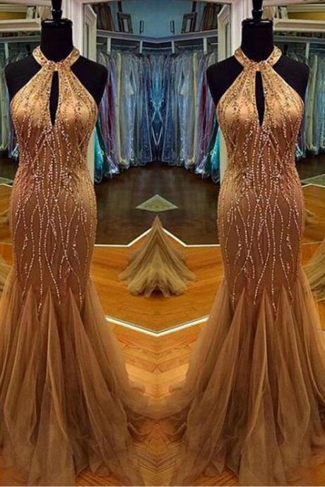 Charming Prom Dress,Halter Prom Dress,Beading Prom Dress,Tulle Prom Dress,Mermaid Evening Dress