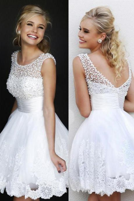 Fashion A-Line Graduation Dress Beading Short Graduation Dress Elegant Tulle Homecoming Dress