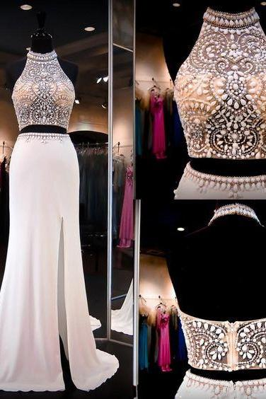 Charming 2 Piece Prom Dress,Halter Neck Prom Dress,Beaded-Bodice Prom Dress,Backless Prom Dress,Side Slit Prom Dress,Long Fitted Prom Dress,Long Evening Dress,Sexy See-through Prom Dress,Evening Gowns,Homecoming Dress