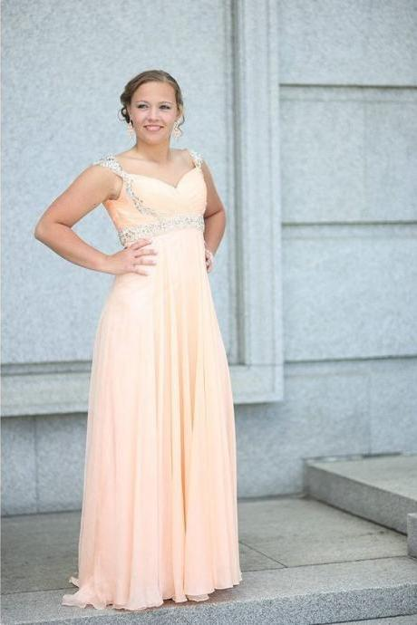 Charming Beaded Cap Sleeve Sweetheart Neckline Prom Dress ,Long Chiffon Prom Dress Floor Length ,Homecoming Dress for Juniors ,Evening Dress ,Pageant Dress ,Formal Dress ,Evening Dress