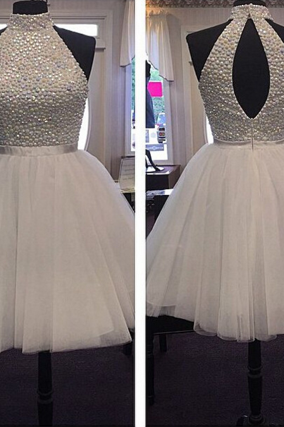 Gorgeous Homecoming Dress,Homecoming Dress 2016,Halter Homecoming Dress,Crystal Beaded Homecoming Dress,Tulle Homecoming Dress,Short Prom Dress,Sweet 15/16 Dress,Cocktail Dress,Graduation Dress,Party Dress,8th Grade Dance Dress