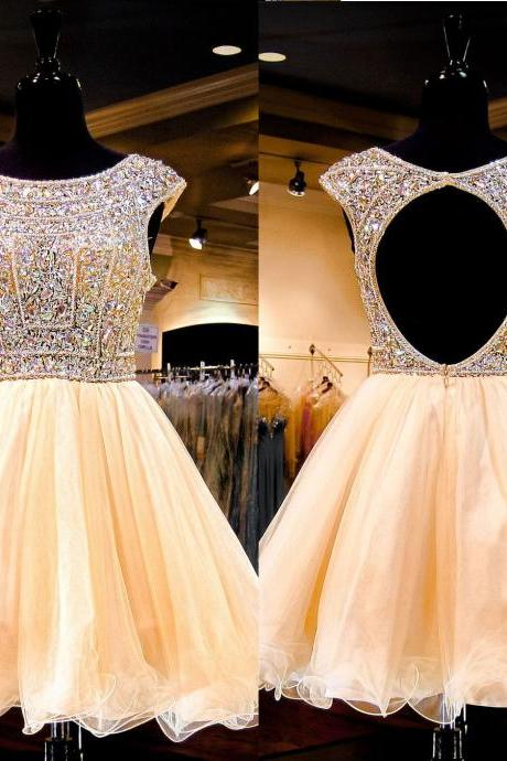 Luxury Homecoming Dress 2016 ,Short Homecoming Dress,Crystal Beaded Homecoming Dress,Cap Sleeve Homecoming Dress,Open Back Homecoming Dress,Tulle Homecoming Dress,Short Homecoming Dress for Juniors,8th Grade Dance Dress ,Short Prom Dress,Short Party Dress,Cocktail Dress,Short Evening Dress,Short Graduation Dress